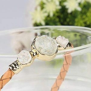Jewelry - 3/$30 Genuine Leather Bracelet Natural Crystals